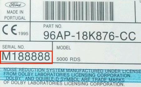 Ford M trouver le numéro de série