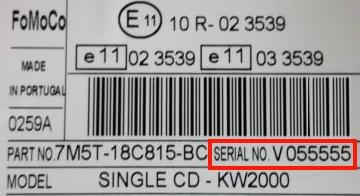 Ford V trouver le numéro de série
