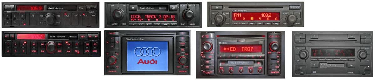 tous les autoradios audi Audi Delta CC Audi Concert Audi Symphony