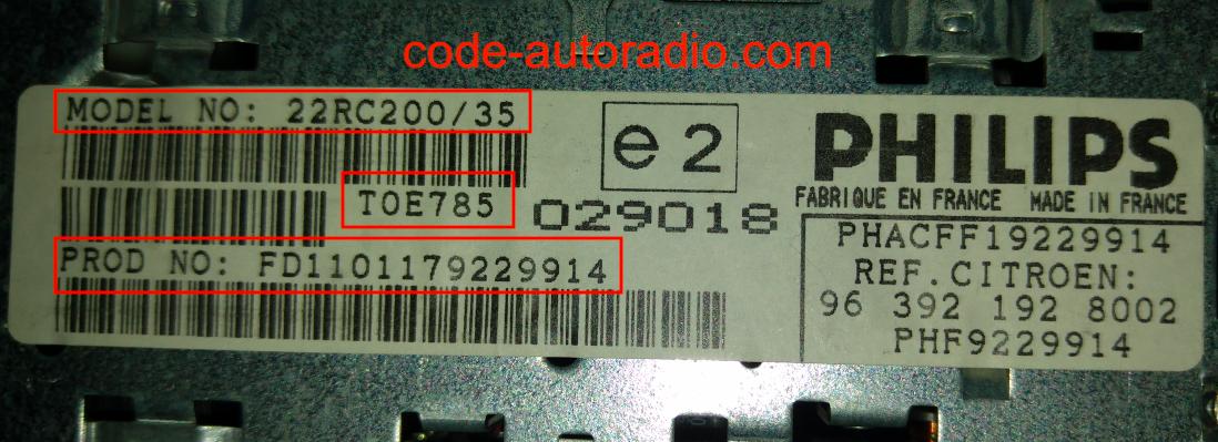 code autoradio Philips numéro de série